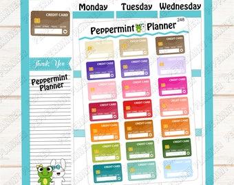 Credit Card ---  Planner Stickers  --- Bill Tacker --- 248
