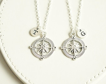 Best friend necklace set, bff necklace, compass necklace, friends, personalized, initial, nautical, sister, friendship jewelry, monogram