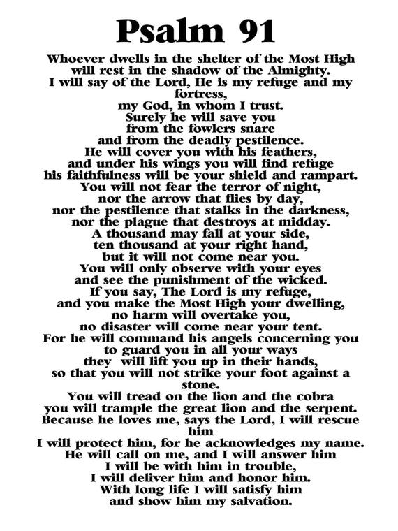 Sizzling image intended for psalm 91 printable