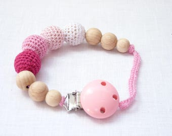Pink pacifier clip / crochet dummy clip / ECO pacifier clip / pink dummy chain / crochet soother clip / binky clip baby girl/ Soother clip