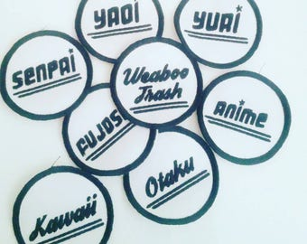 Iron / On / Patch / Anime / Senpai / Kawaii / Yaoi / Yuri / Fujoshi / Otaku / Custom / Patches / Pins / Weaboo / Trash / Embroidered