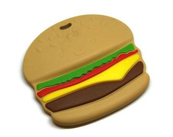 Hamburger BPA free silicone teething ring