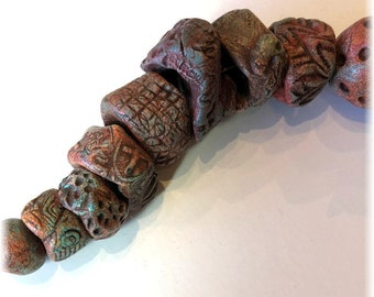 16 Rustic Artisan Handmade Ceramic Beads in VERDIGRIS BRICK for Use in Jewelry and Mixed Media Creations! OOAK