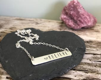 Silver Bar Necklace, personalised bar necklace, name necklace, family necklace, gift for mum, hand stamped, sterling silver