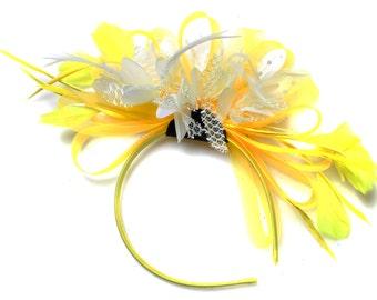 Bright Yellow & Cream Feathers Fascinator on Headband