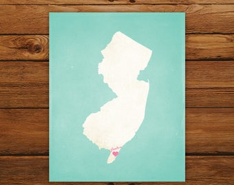 Customized New Jersey State Art Print, State Map, Heart, Silhouette, Aged-Look Personalized Print