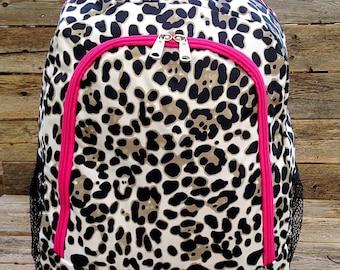 Cheetah Backpack - Leopard Backpack - Monogram Backpack - Personalized Backpack - Large Backpack - Girl Backpack - Embroidered Backpack