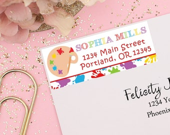 Art Party Return Address Labels, Printable Address Labels, Art Party Labels, Kids Address Labels, Art Birthday Party, Kids Art Party
