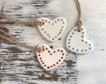 Heart Shaped Ceramic gift tag/wine bottle tag