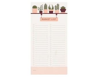 Succulent Plant Market List Notepad - Tear-Off Notepad | Warm White Text Paper