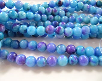 6mm JADE Beads in Light Blue, Purple, Green, Dyed, Round, Smooth, Full Strand, 68 Pcs, Candy Jade, Mountain Jade, Gemstone Beads