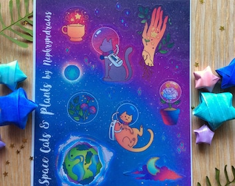 Space Cats and Plants, cute stickers, gold accents, hand embelished