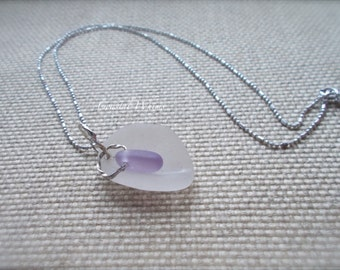 Mother Child Pendant, Abstract Mom, Sea Glass Representation of Mother Embracing Their Child, Maine White Purple Sea Glass, February Jewelry