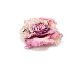 Everlasting Flower for Mother, Felted Flower Brooch for Mom, Silk Wool Rose Brooch, Mothers Day Gift, Pink Rose Pin, Pink Flower Accessories