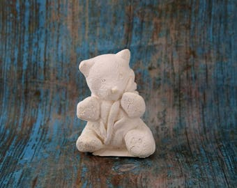 little panda with bamboo painting statue