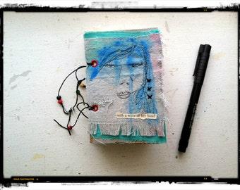 journal, artjournal, embroidered, art quilt, hand stitched journal, hand made journal, art journal, small art journal, sketchbook