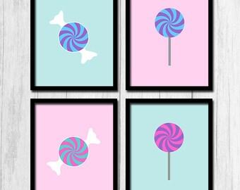 Candy Nursery Art Digital Download Childrens Room Art Nursery Printables Lollipop Art Candy Art Pastel Art Pink and Blue Printables