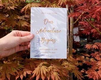 Custom, copper adventure watercolor pine tree save the date