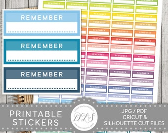 Remember Stickers, Remember Planner Stickers, Reminder Stickers, Remember Printable Stickers, Remember Box Stickers, Mambi PDF, FS106