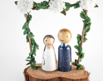 Woodland Cake Topper - rustic wedding cake topper - fairy garden wedding - romantic cake topper - fairy cake topper - floral cake topper