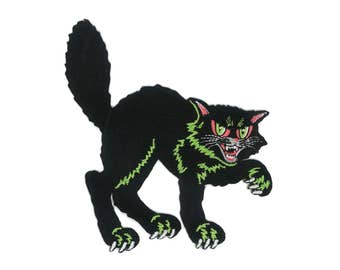 Halloween Black Cat Iron-ON Patch 50s 60s Vintage Decoration 1950s 1960s Spooky Lucky 13 Thirteen Rockabilly Hipster Psychobilly Retro Kitty