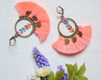 Neon orange earrings, jewelry trends 2017 women earring, Bohemian earrings
