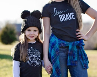 Be Brave - Cotton Kid's Tee Shirt - Black - Child's Hand lettered - Youth Hand lettering - T shirt - Dear Seed DearSeed