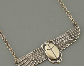 Vintage Necklace - Scarab Necklace - Egyptian Jewelry - Vintage Brass jewelry - handmade jewelry