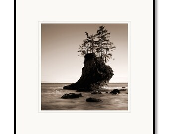Neah Bay, seastacks, strait of Juan de Fuca, Washington State, photography, black and white, sepia warm tone, framed photo by Adrian Davis