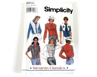 Vintage Simplicity Sewing Pattern 8850, Western Classics - Misses' Set of Western Shirts - Size P (12,14,16) - 1994 - top, blouse, cowgirl
