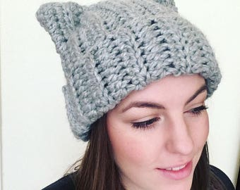 Handmade crochet cat ears hat