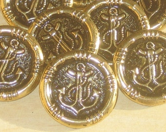 ANCHOR Picture Set 10 New Vintage Antiqued gold tone Metal buttons 24mm 15/16""