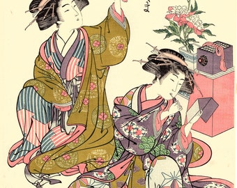 "Japanese Ukiyo-e Woodblock print, Shunsho, ""Courtesans from Shinagawa"""
