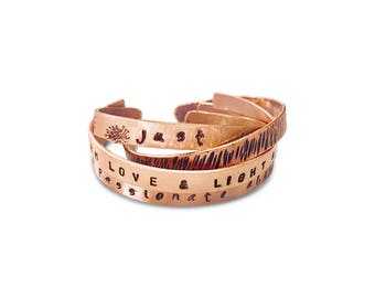 Personalized Hand Stamped Inspirational Affirmation Cuff