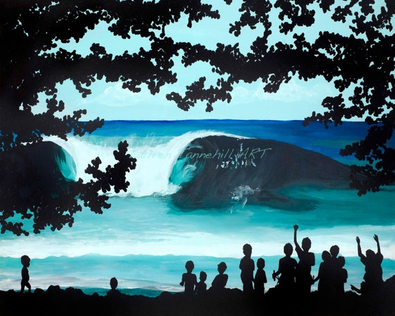 Canvas Print Kids Cheering on the Huge Surf Island Surf Art by Lauren Tannehill ART