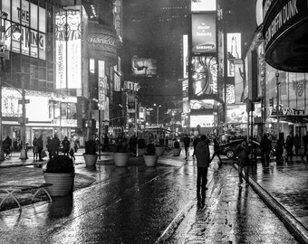 reflections of light on Times square in New york NYC