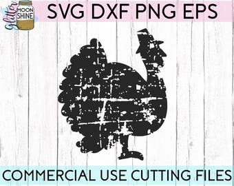 Distressed Turkey svg dxf eps png Files for Cutting Machines Cameo Cricut, Fall, Funny, Thanksgiving, Southern, Grunge, Cute, Boho, Country