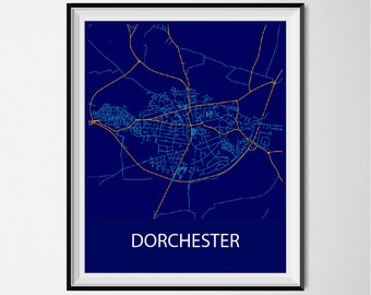 Dorchester Map Poster Print - Night