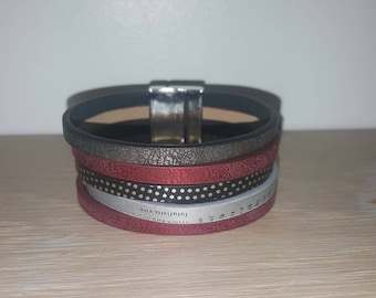 Creative woman black and red leather cuff bracelet