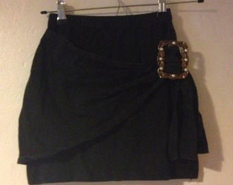 Vintage 1980's Black Mini Skirt Jersey Large Buckle Wrap Style Blogger Grunge