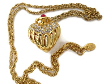 Joan Rivers Necklace, Vintage Pendant, Crystal Pendant, Puffy Heart Pendant Necklace, Designer Signed Jewelry