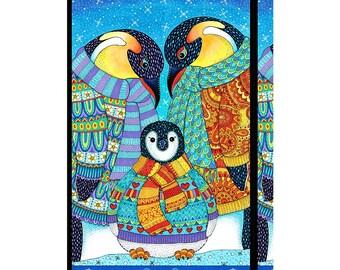 Arctic Wonderland~Penguin Panel 24in x 44in Cotton Fabric By Wilmington Prints