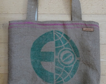 Hessian Coffee Sack tote. Handmade with 100% recycled fabric & jute. Perfect eco-chic accessory for the environmentally conscious.