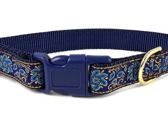 Nylon Buckle Dog Collar - Sevilla Jacquard in Blue - 1 Inch