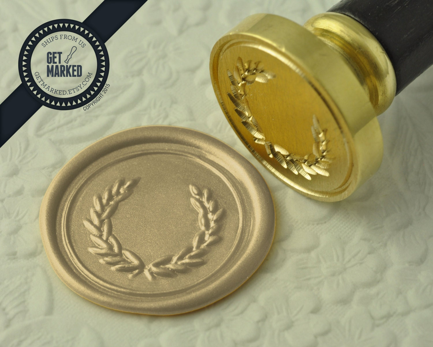 Branch Wreath Wax Seal Stamp by Get Marked WS0080
