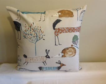 """Modern 16"""" bright coloured woodland animal cushion cover, scatter cushion, pillow case"""