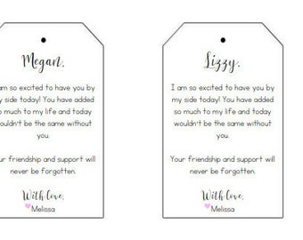 Bridesmaid Gift Tags