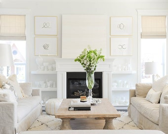 SET of FOUR paintings as seen on Monika Hibbs  and Style at Home magazine