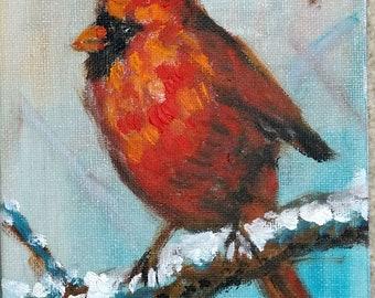 "Original Oil Painting, Red Robin bird 3, 1804132, 7""x5'"