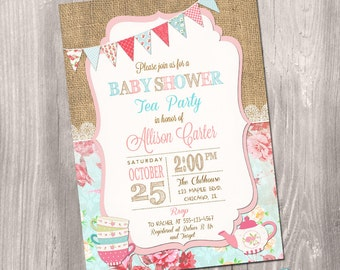 Tea Party Baby Shower Invitation, Girl Baby Shower Invitation, Tea Party Shower, Floral, Tea party invitation, Printable Invitation